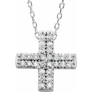 14K White .07 CTW Diamond Cross Necklace