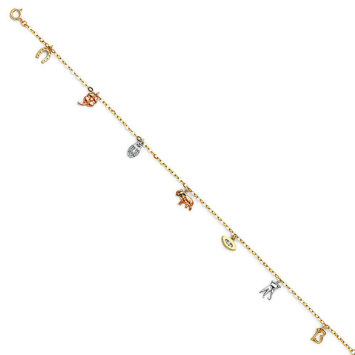 14K 3C LUCKY CHAIN ANKLET