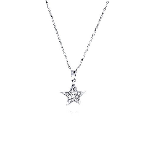 925 Clear CZ Rhodium Plated Double Star Pendant Necklace