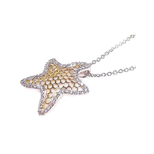 925 Clear CZ Rhodium Plated Multi Hole Star Pendant Necklace