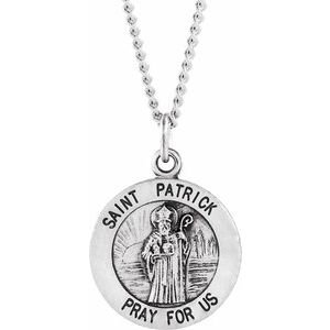 """Sterling Silver 18 mm Round St. Patrick 18"""" Necklace"""