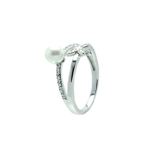Synthetic Pearl Cubic Zirconia Flower Ring
