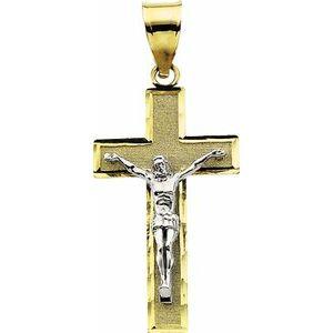 14K Yellow & White 26.5x15.25 mm Crucifix Pendant