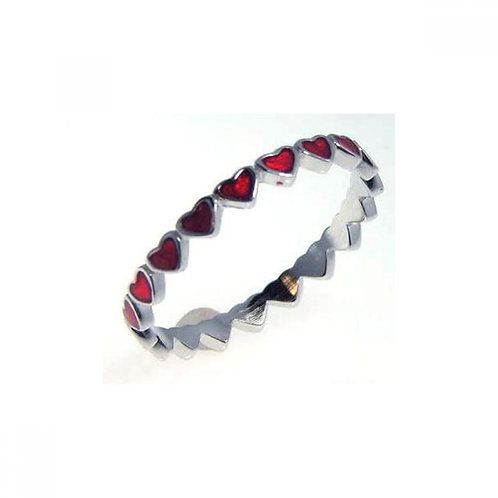 Red Enamel Heart Sterling Silver Rhodium Plated Eternity Ring Band