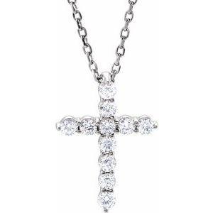 "14K White 14.6x10.5 mm 1/4 CTW Diamond Cross 16-18"" Necklace"