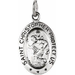 14K White 15x11 mm Oval St. Christopher Medal