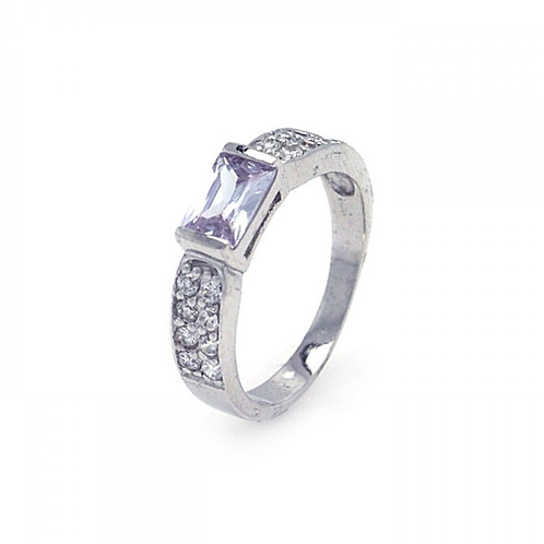925 Rhodium Plated Clear Rectangular Center Pave CZ Ring