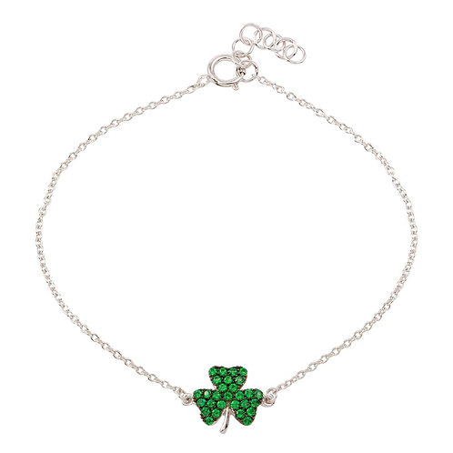 925 Rhodium Plated Clover Bracelet with Green CZ