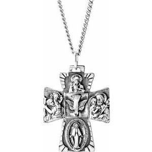 """Sterling Silver 28x23 mm Four-Way Cross Medal 24"""" Necklace"""
