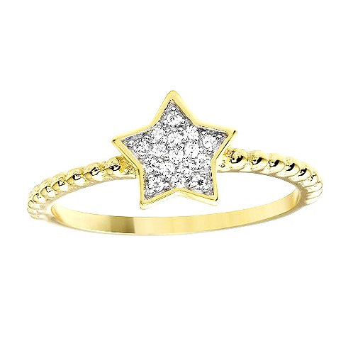 925 Gold Plated Small Star Ring with CZ