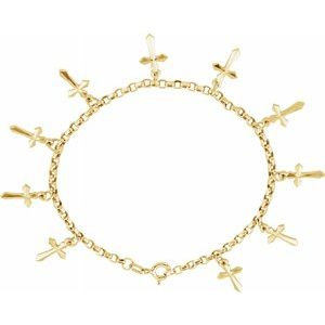 "14K Yellow Cross Charm 7"" Bracelet"