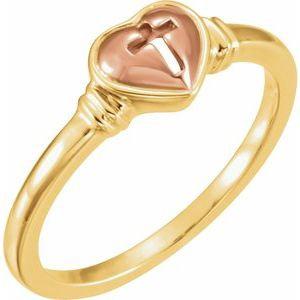 10K Yellow & Rose Heart & Cross Ring