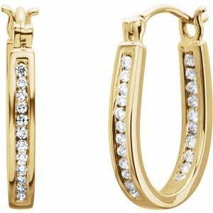 14K Yellow 1/4 CTW Diamond Inside-Outside 13 mm Hoop Earrings