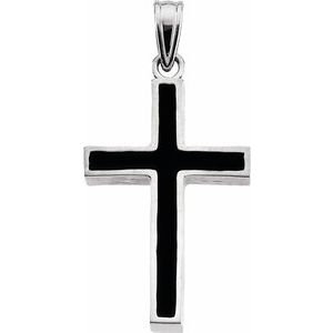 14K White & Black Epoxy 20x13 mm Cross Pendant
