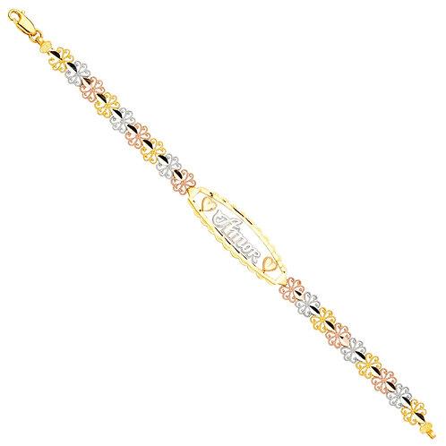 14K 3Color Amor ID Bracelet