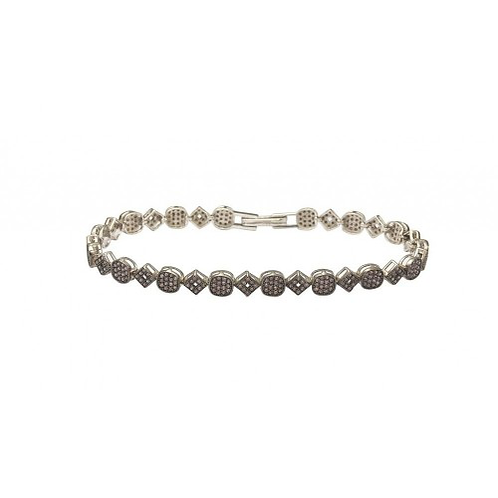 Multiple Square and Circle Micro Pave Tennis Clear CZ Bracelet