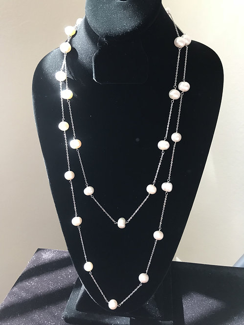 Pearls by the Yard Sterling Silver 70 Inches Necklace