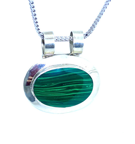 Green Malachite Sterling Silver Pendant