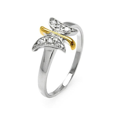925 Rhodium and Gold Plated 2 Toned Clear Pave Set CZ Butterfly Ring