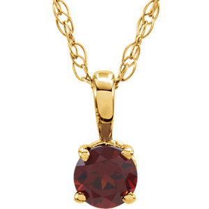 "14K Yellow Mozambique Garnet 14"" Necklace"