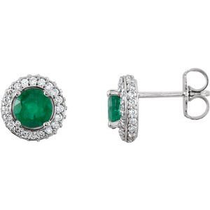 14K White Emerald & 1/3 CTW Diamond Earrings