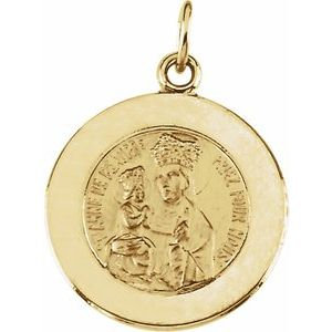 14K Yellow 15 mm Round St. Anne de Beau Pre Medal
