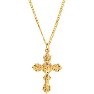 """24K Gold-Plated 37.4x25 mm Crucifix 24"""" Necklace"""