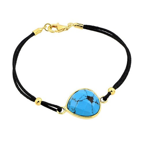 925 Gold Plated Evil Eye Stone Black Rope Bracelet