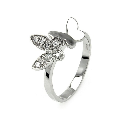 925 Rhodium Plated Clear Pave Set CZ Double Butterfly Ring