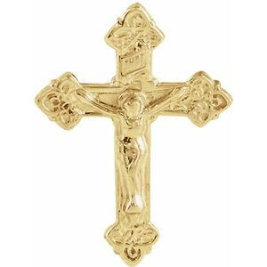 14K Yellow 17.5x13 mm Crucifix Lapel Pin