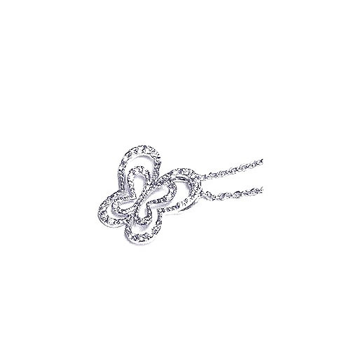 925 Clear CZ Rhodium Plated Cutout Butterfly Pendant Necklace