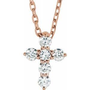 "14K Rose 8.7x6.6 mm 1/6 CTW Diamond Cross 16-18"" Necklace"