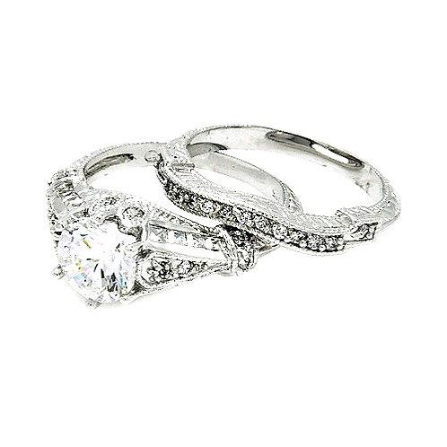 925 Rhodium Plated Clear Channel Set CZ Bridal Wedding Ring Set