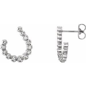 14K White 1/4 CTW Diamond Freeform Earrings