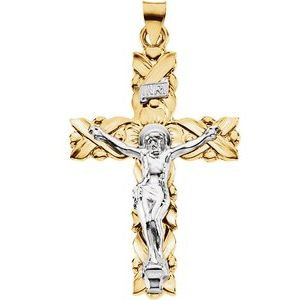 14K Yellow & White 41.5x28.5 mm Crucifix Pendant