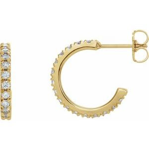 14K Yellow 5/8 CTW Lab-Grown Diamond French-Set 15 mm Hoop Earrings