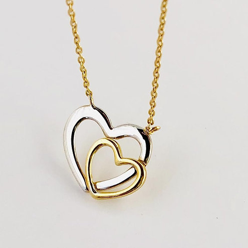 Double Hearts Necklace in 14k Yellow/ White Gold