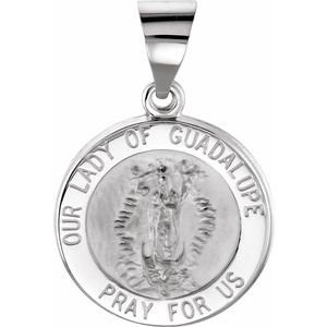 14K White 15 mm Round Hollow Our Lady of Guadalupe Medal