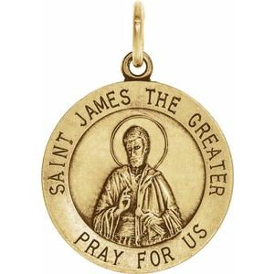 14K Yellow 18 mm St. James Medal