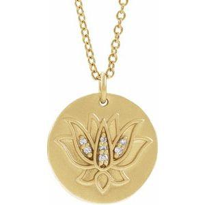 "14K Yellow .025 CTW Diamond Lotus 16-18"" Necklace"