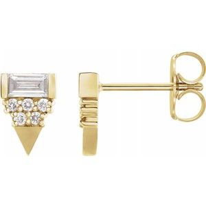 14K Yellow 1/4 CTW Diamond Geometric Earrings