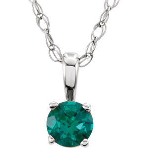 """14K White Chatham® Lab-Created Emerald """"May"""" Birthstone 14"""" Necklace"""