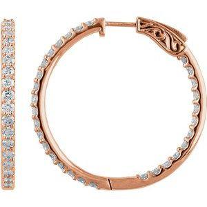 14K Rose 3 CTW Diamond Inside-Outside 34.5 mm Hoop Earrings