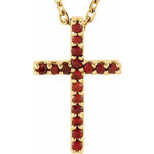 "14K Yellow Mozambique Garnet Petite Cross 16"" Necklace"