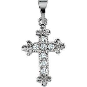 14K White 14x10 mm Diamond Cross Pendant