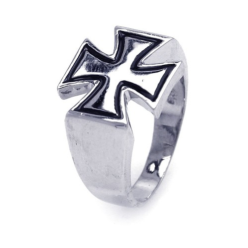 925 Rhodium and Black Rhodium Plated High Polish Cross Ring