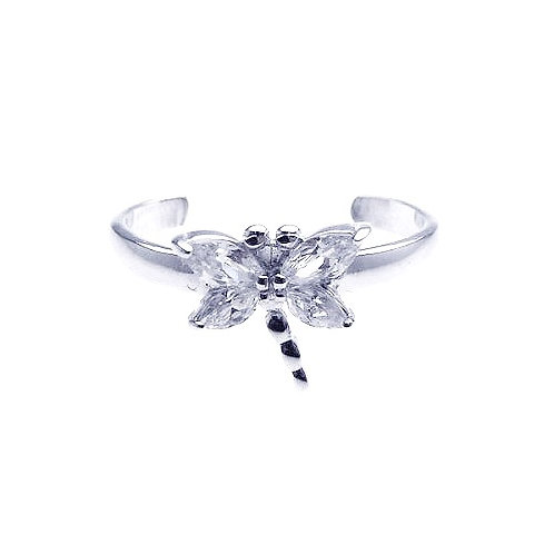 925 Rhodium Plated Clear CZ Dragonfly Toe Ring