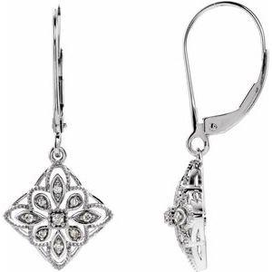 14K White 1/10 CTW Diamond Granulated Filigree Earrings