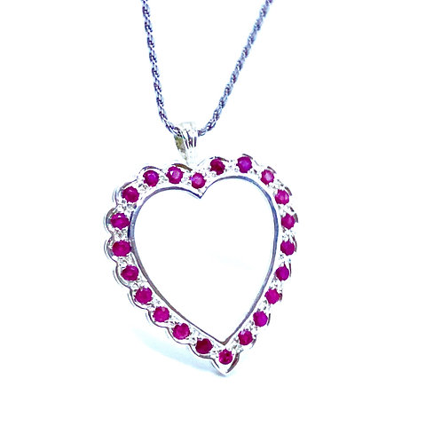 Genuine Ruby Sterling Silver Pendant