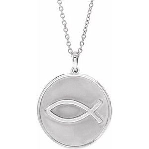 """Sterling Silver 20.3x18.4 mm Ichthus (Fish) 16-18"""" Necklace"""